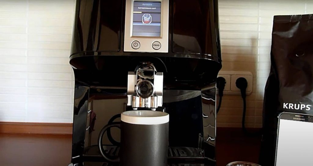 This is KRUPS EA8808 2-IN-1 Touch Cappuccino Super Automatic Espresso Machine