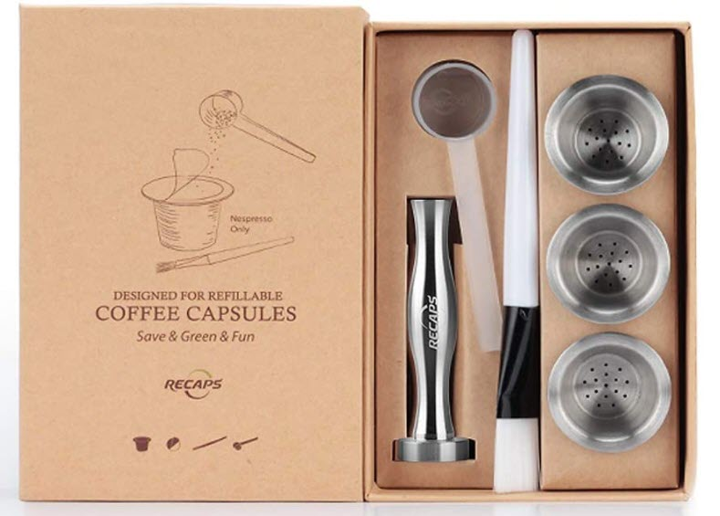 RECAPS Stainless Steel Refillable Filters Reusable Pods